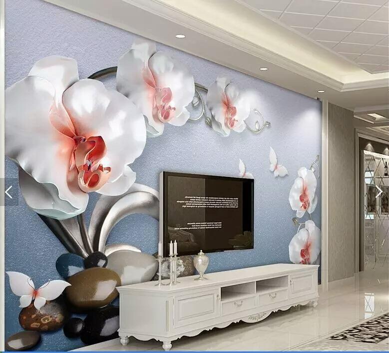 Papel De Parede Orquidea 3d Mural Flor Azul Branca Encomenda R