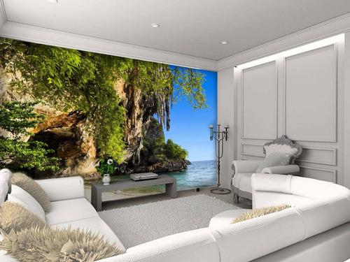 papel de parede paisagem caverna natureza - m²