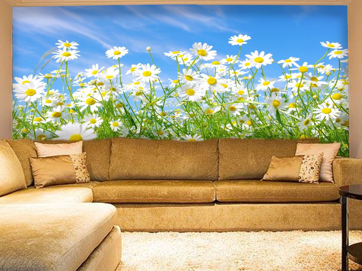 Papel de parede paisagem flores floral campos de flores m for Sala de estar com papel de parede 3d
