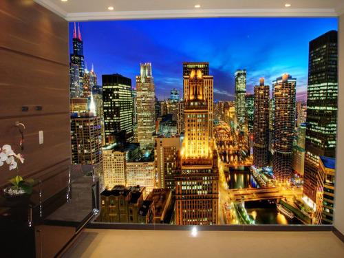 papel de parede paisagens 3d fosco luxo vários modelos - m²