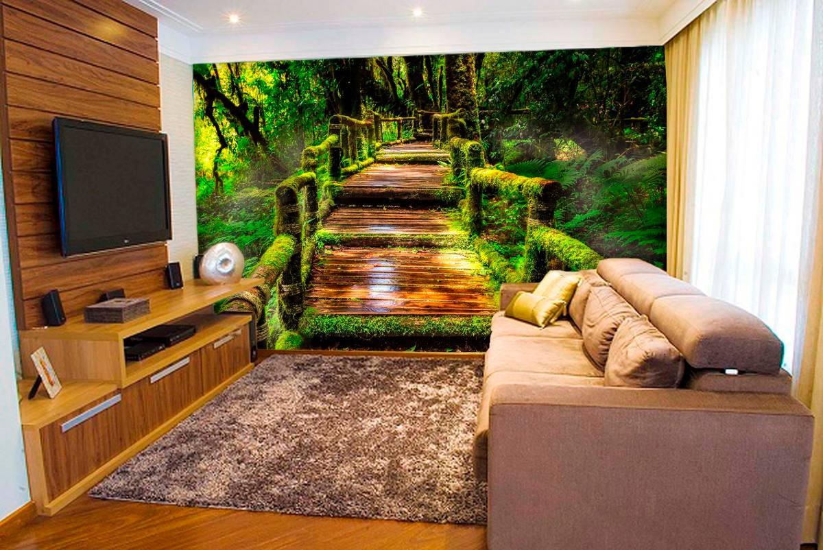 Papel de parede paisagens 3d natureza floresta fosco luxo for Papel para paredes baratos