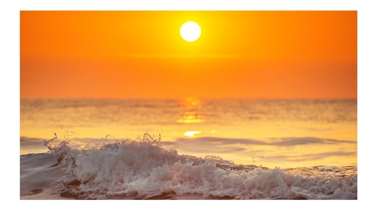 Papel De Parede Paisagens Praia Mar Por Do Sol Onda S90 R 98 00