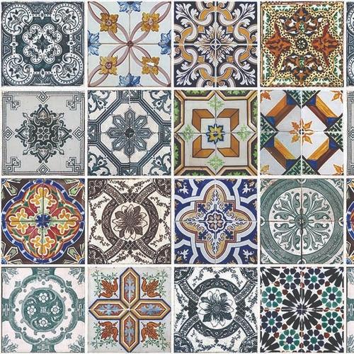papel de parede para cozinha azulejo português lavável 2 mts