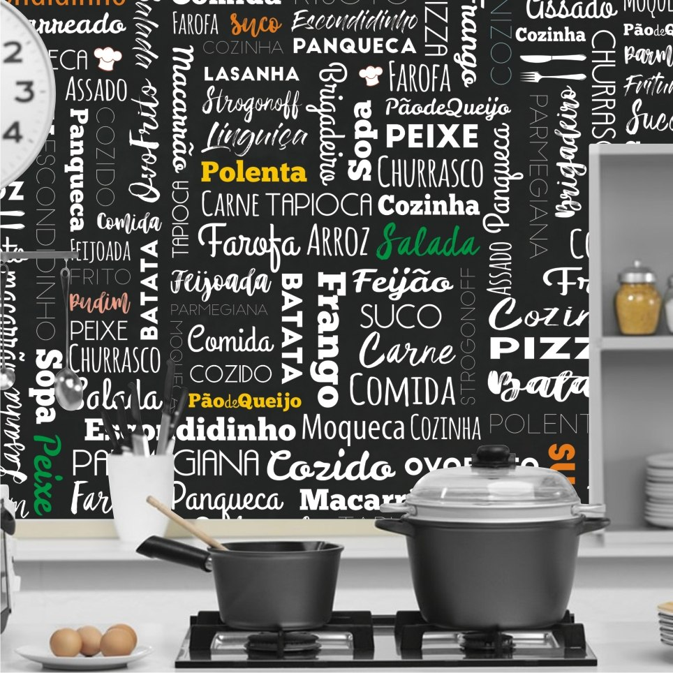 Papel de parede para cozinha gourmet 2x1m vinilico m125 - Papel vinilico para paredes ...