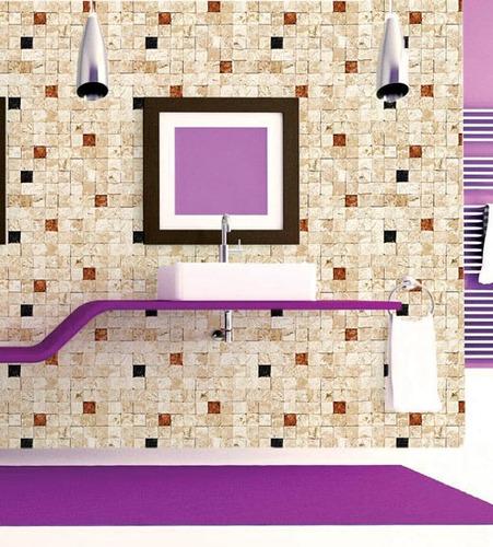 papel de parede pedra mosaico mesclado lavavel vinil 3m
