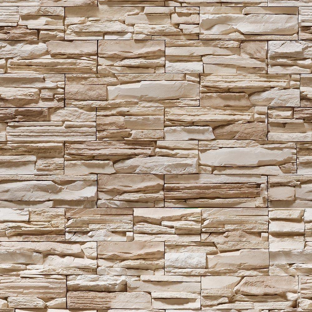 72499c995 Papel De Parede Pedras 3d Rustica Em Filetes Bege 310x58cm - R  49 ...