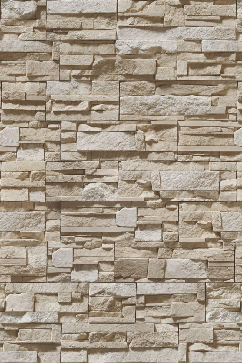 Papel De Parede Pedras 3d R Stica Em Filetes Bege R 43 00 Em  -> Parede Da Sala Com Filetes