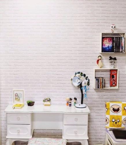 papel de parede pedras tijolos brancos alto adesivo vinilico