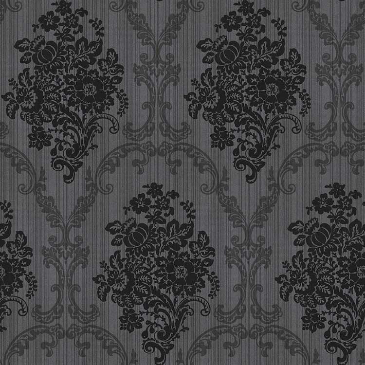 Papel de parede preto cinza floral arabesco barato sala tv - Papel de pared barato ...