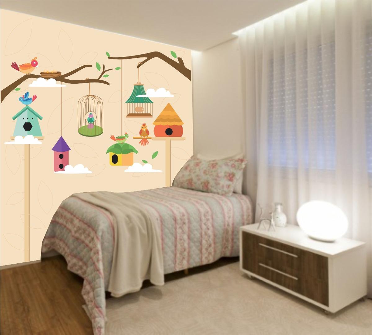 Papel de parede quarto bebe infantil gaiolas passarinho - Papel infantil para paredes ...