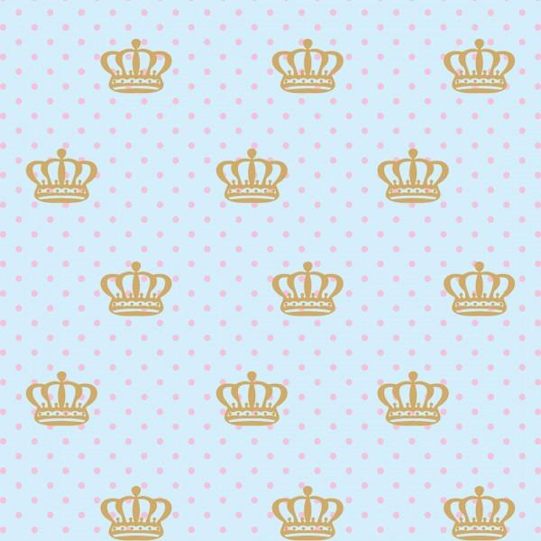 Papel De Parede Quarto Bebe Menina Coroa Dourada Fundo Azul R 56