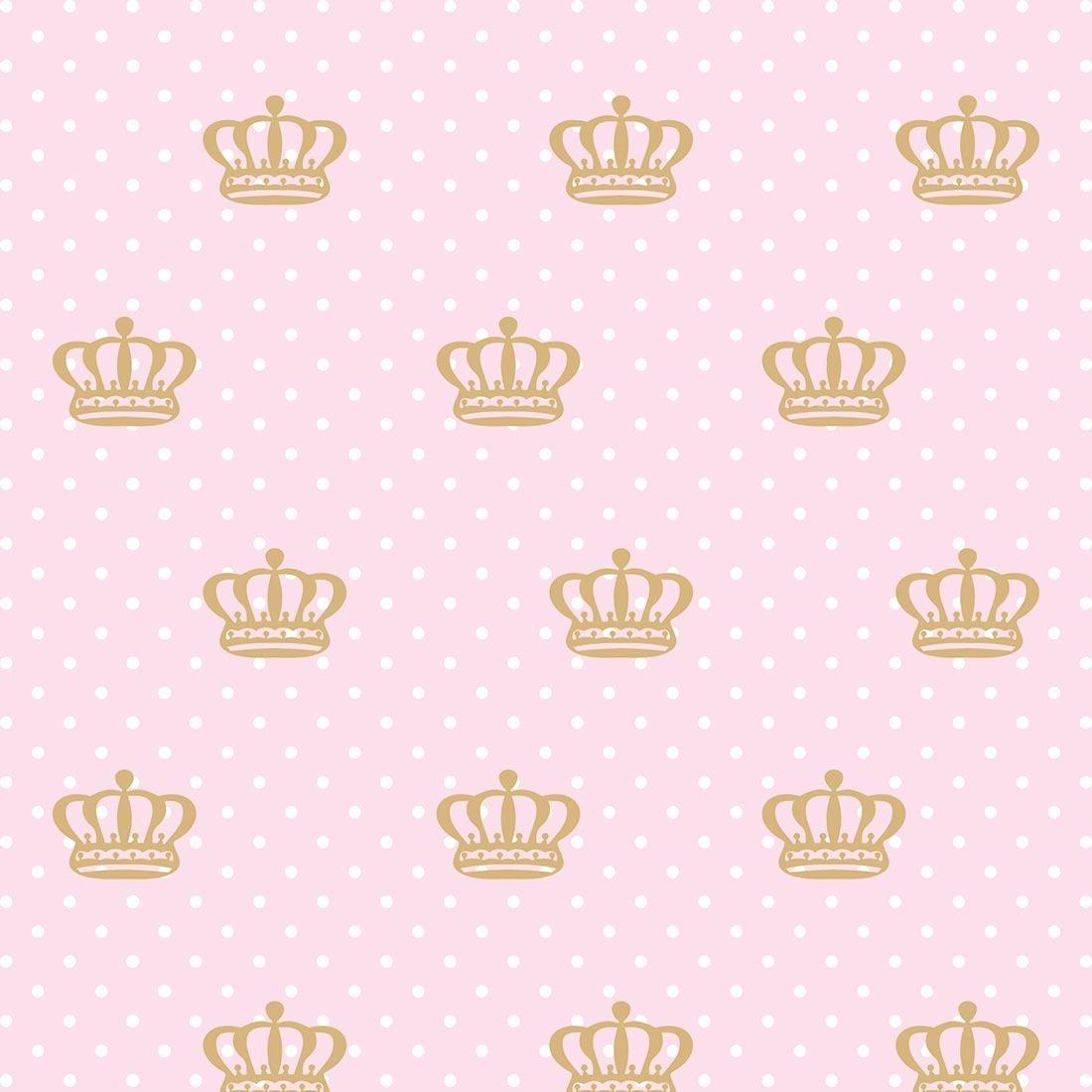 Papel De Parede Quarto Bebe Menina Coroa Dourada Fundo Rosa R 56
