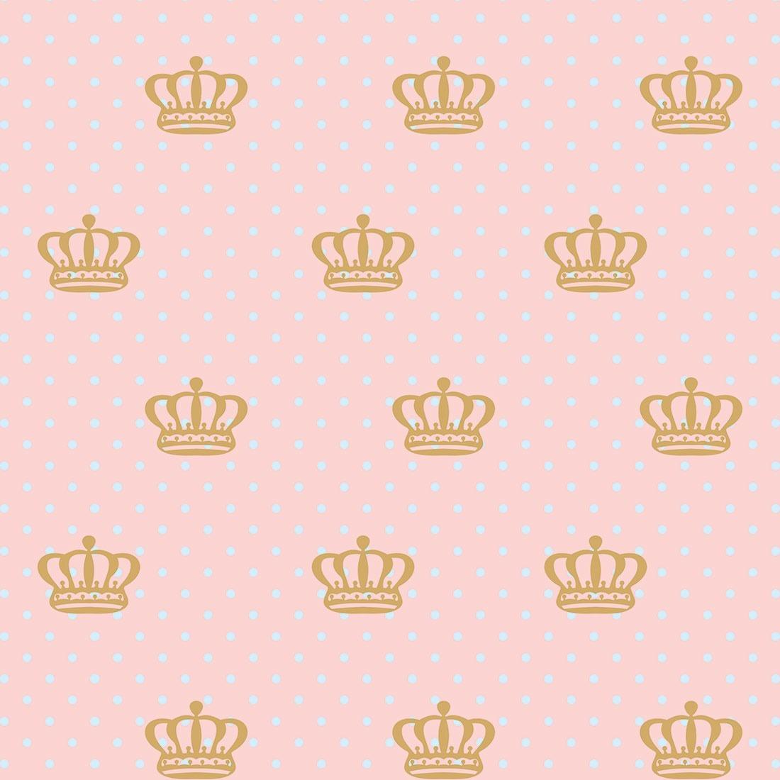Papel De Parede Quarto Bebe Menina Coroa Fundo Rosa Rosê R 4500