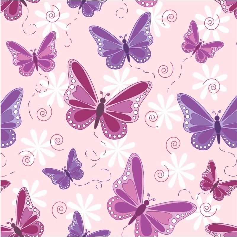 Papel de parede quarto bebe menina lilas roxo rosa - Papel infantil para pared ...