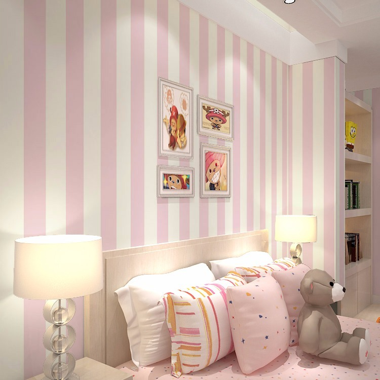 Papel de parede quarto bebe menina listras rosa branco 13 for Mobili quarto