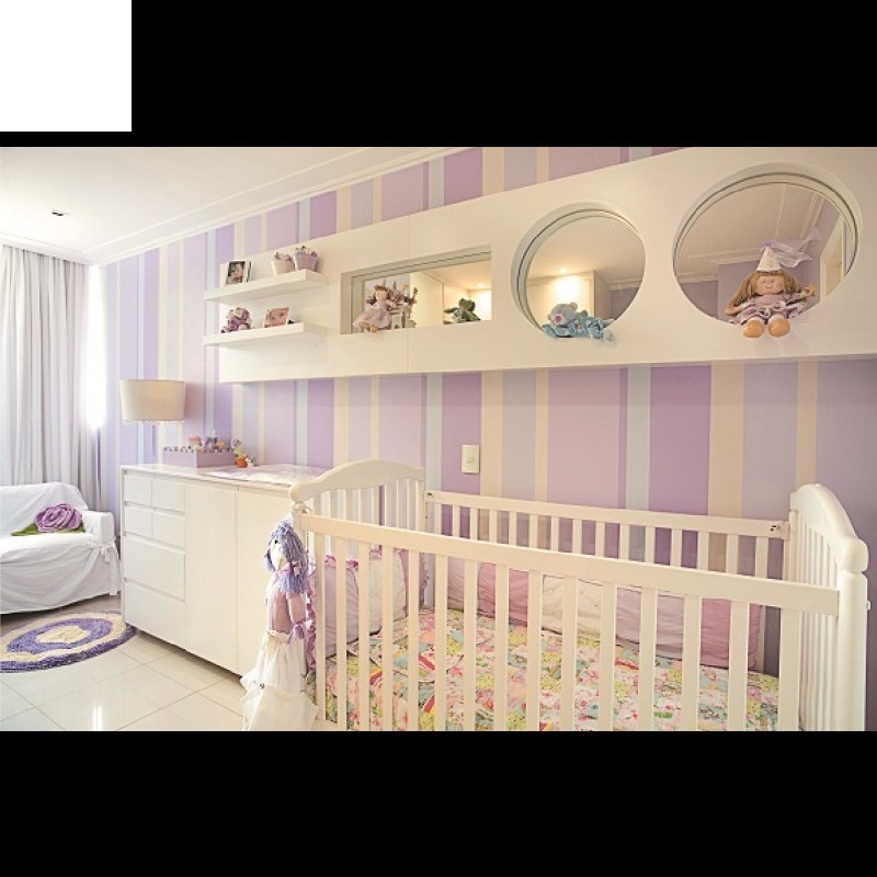 Papel de parede quarto bebe menina listras rosa lilas roxo - Papel infantil para paredes ...