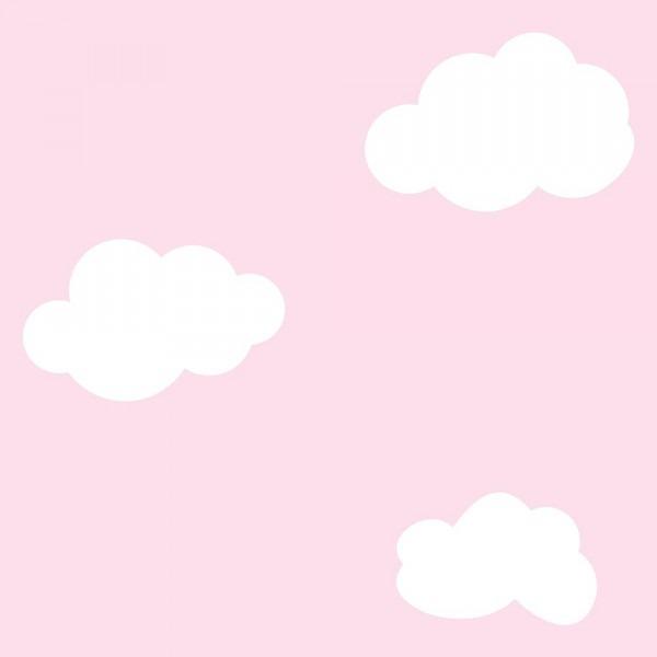 Papel De Parede Quarto Bebe Menina Nuvem Branca Fundo Rosa R 59