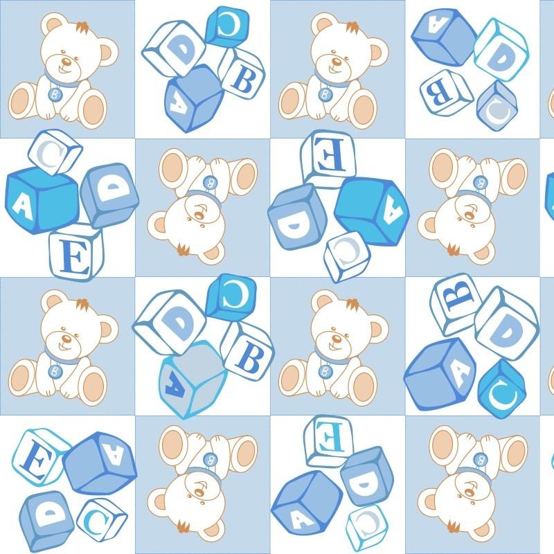 Papel de parede quarto bebe menino azul bege ursinho s frete r 86 99 em mercado livre - Papel de pared bebe ...