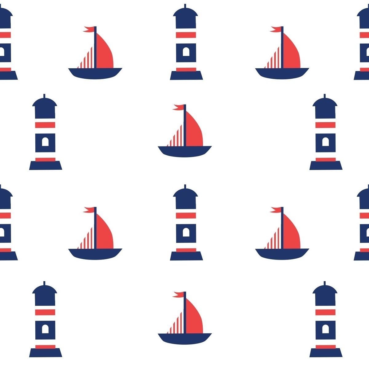 Papel De Parede Quarto Infantil Barco Farol Marinheiro 1 5m R