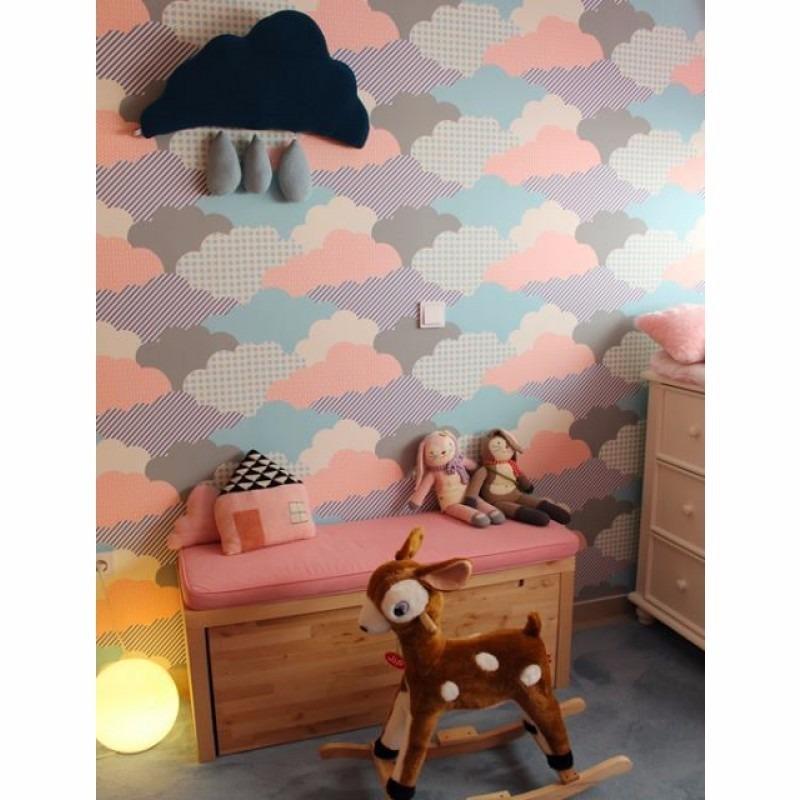 Papel De Parede Quarto Infantil Menina Rosa Azul Nuvens  R$ 58,99 em Mercado