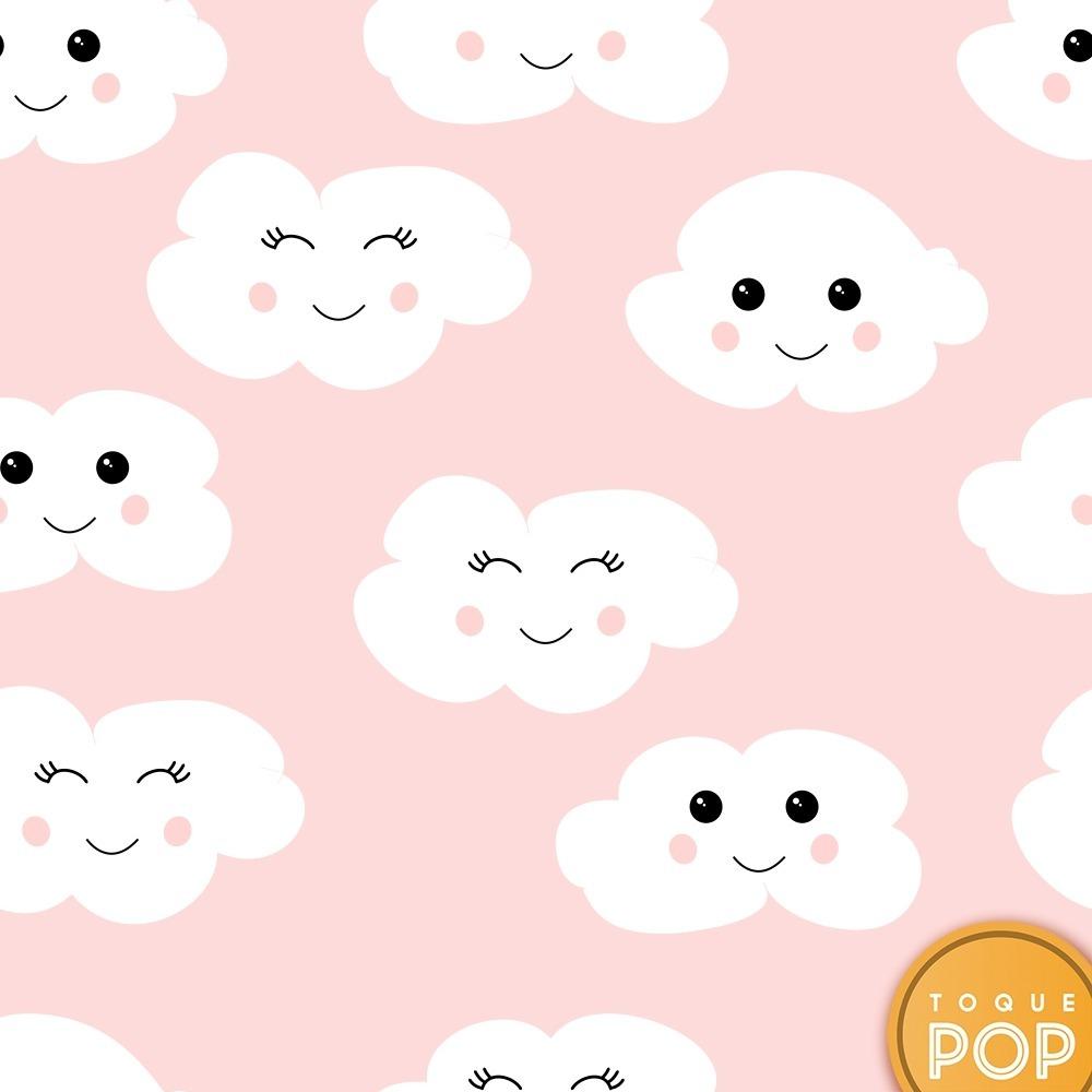 Papel de parede quarto infantil nuvem rosa nuvens bebe 12m - Papel decorativo infantil para paredes ...