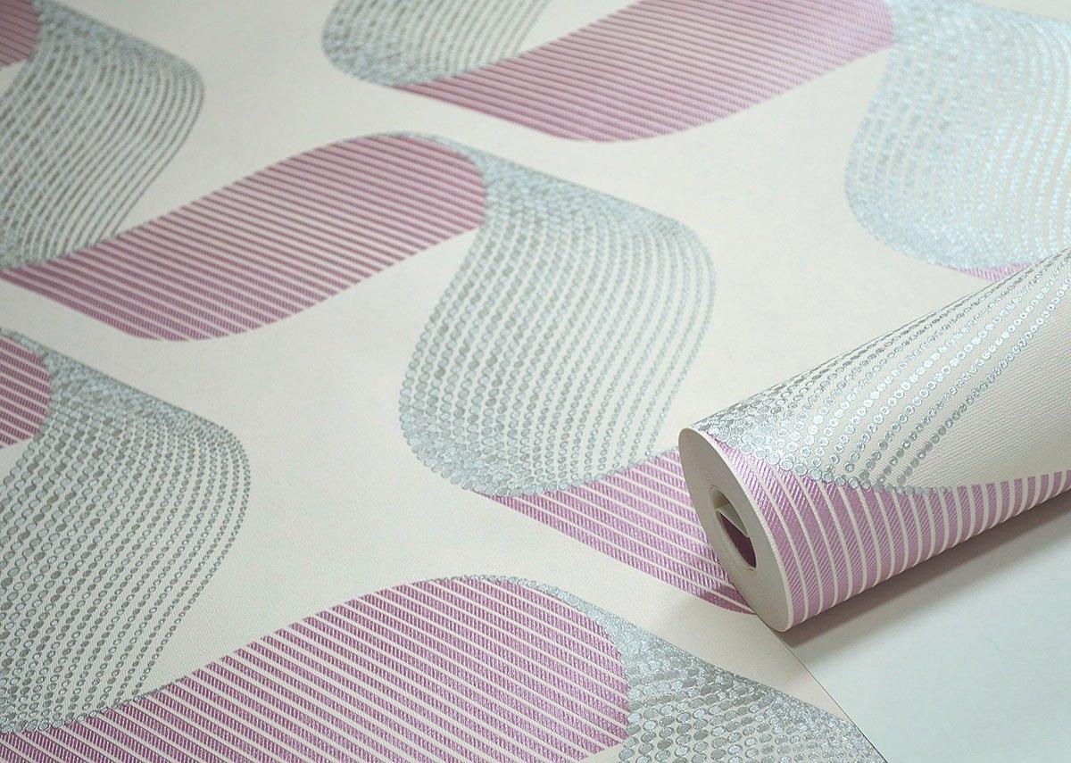 Papel de parede quarto menina rosa cinza efeito 3d rolo for Kuchenzeile 2 10 m