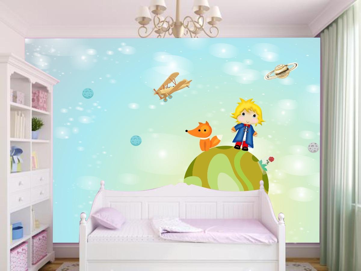 Papel De Parede Quarto Pequeno Principe Desenho Painel 1m R 34  ~ Mural De Fotos Na Parede Do Quarto
