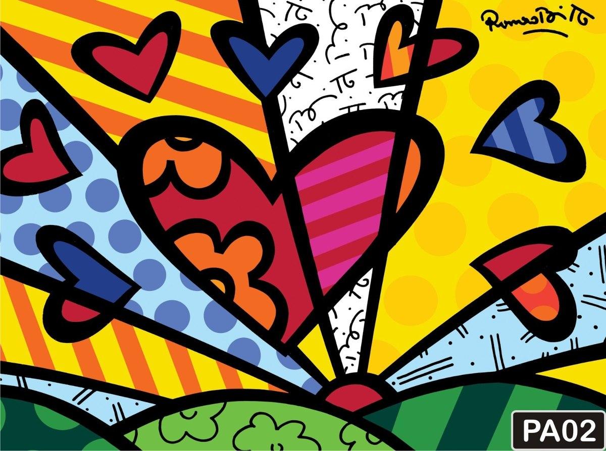 Papel De Parede Romero Britto Pop Art Quadros Coloridos M R 45  ~ Quadros Para Imprimir Quarto E Piso Em Parede De Quarto