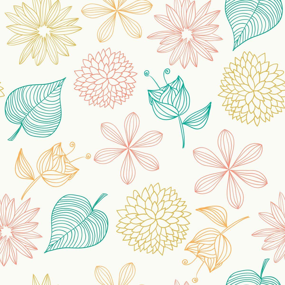 Papel De Parede Sala E Quarto Folhas E Flores Coloridas Ades R 69  -> Papel De Parede Para Sala Folhas