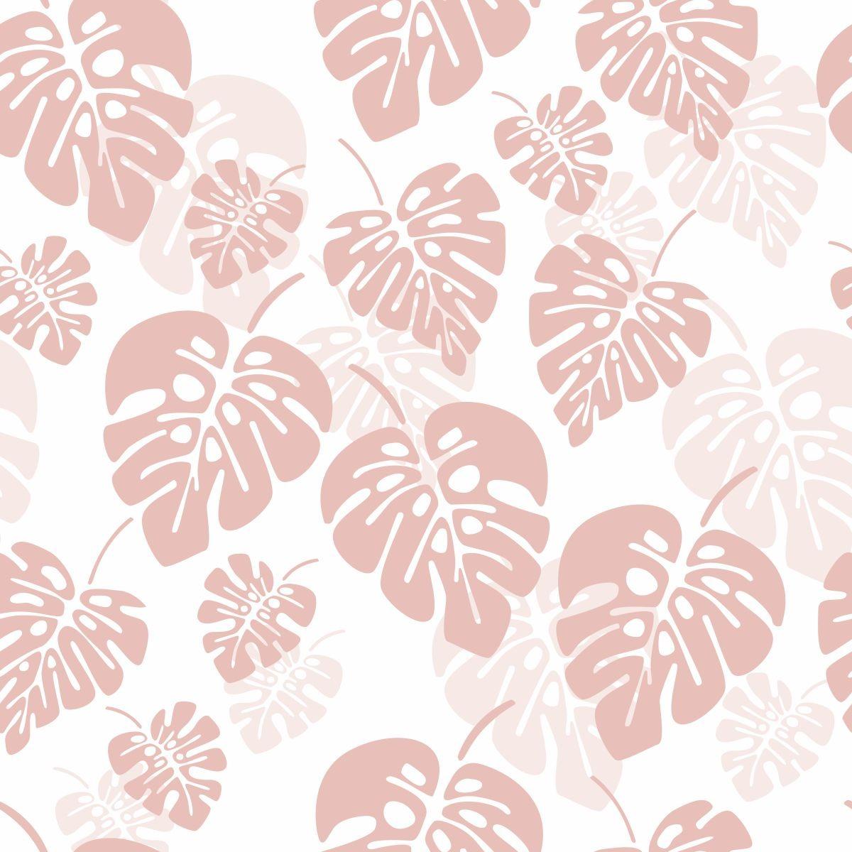 Papel De Parede Sala E Quarto Folhas Grandes Tons De Rosa Ad R 69  -> Papel De Parede Para Sala Folhas