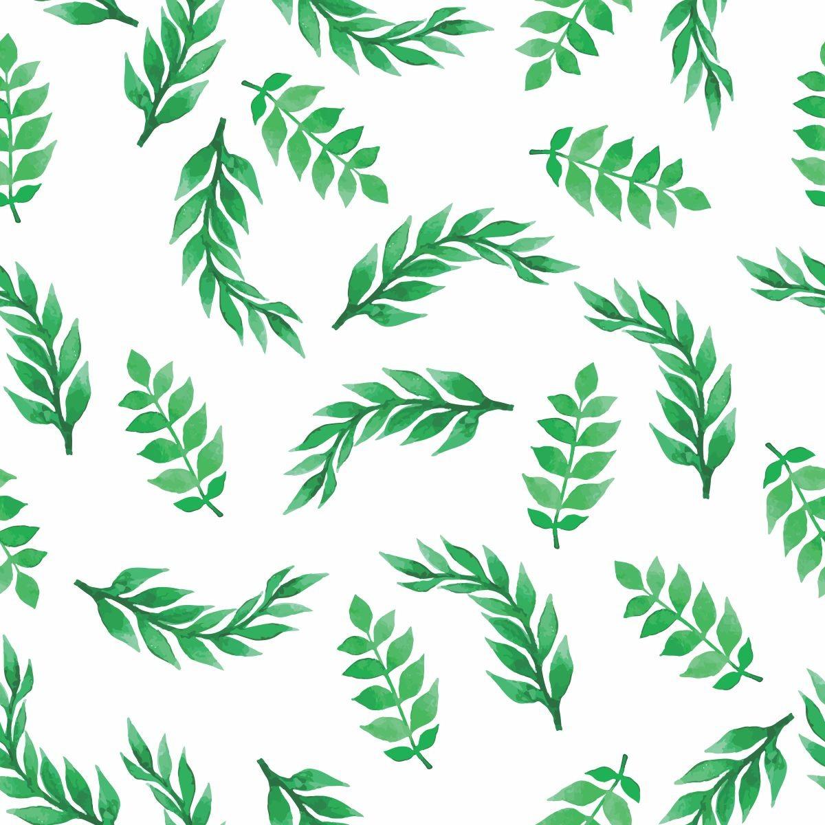 Papel De Parede Sala E Quarto Folhas Verdes Fundo Branco Ade R 69  -> Papel De Parede Para Sala Folhas