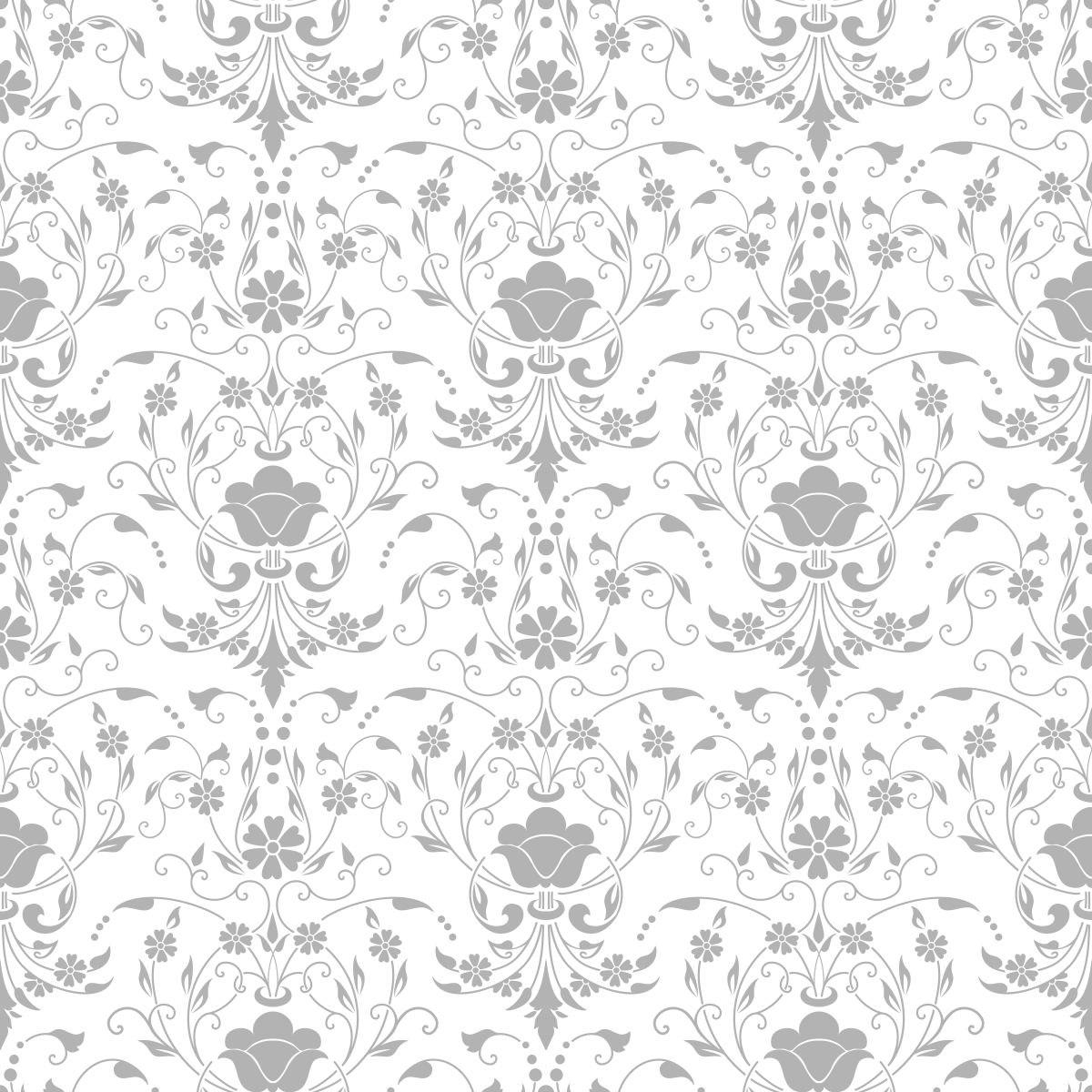 Papel De Parede Sala Floral Cinza Fundo Branco Adesivo R 69 00 Em  -> Papel De Parede Sala Floral