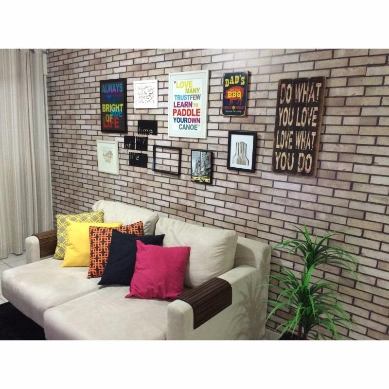 Papel de parede sala tijolinhos 3d vin lico adesivo r - Papel vinilico para paredes ...