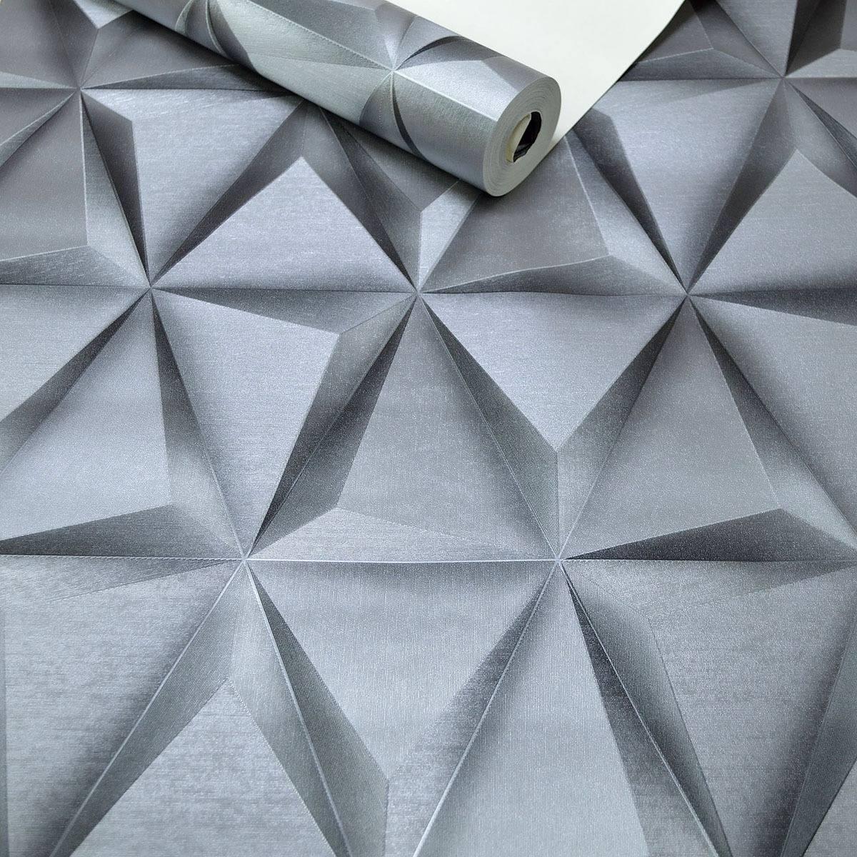 Papel de parede textura alto relevo geom trico cinza 3d for Sala de estar com papel de parede 3d