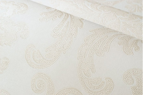 papel de parede texturizado off white e arabescos rosê top