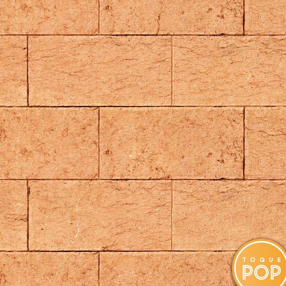 004948986 papel de parede tijolo pedra laranja adesivo rolo de 10mts. Carregando zoom.