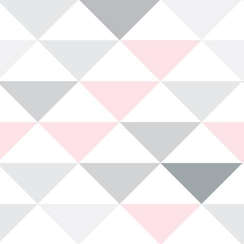 papel de parede triangulo cinza rosa geométrico rolo 12 mts