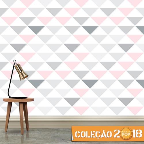 papel de parede triangulo geométrico rosa menina adesivo 3m