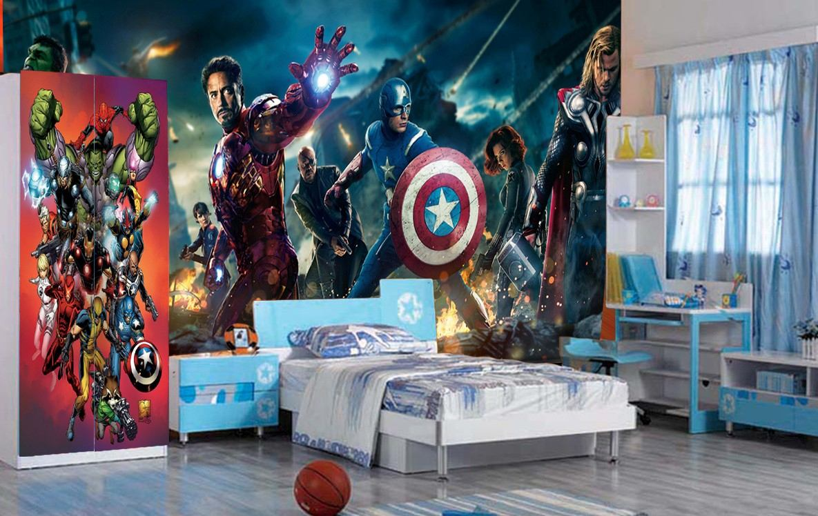Papel De Parede Vingadores Her Is Marvel Iron Man Thor M R 39  ~ Papel De Parede Para Quarto Infantil Personagens