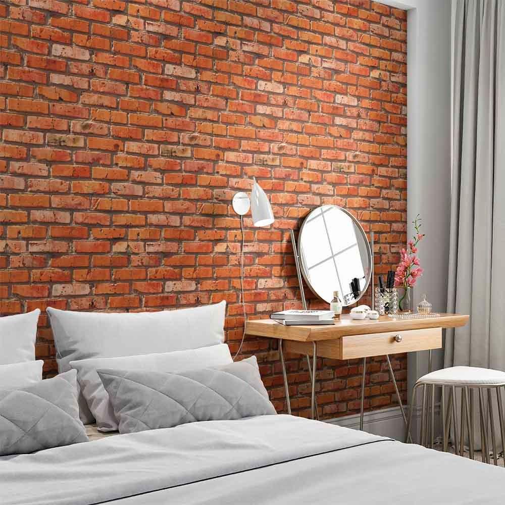 Papel de parede vin lico 3d adesivo lav vel tijolo a vista - Papel vinilico para paredes ...