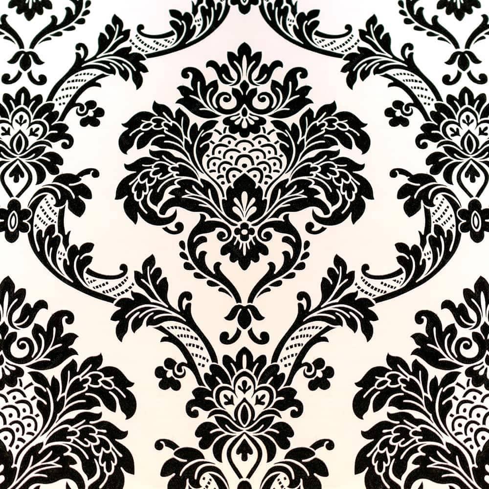 Papel de parede vin lico c textura de arabescos em preto - Papel vinilico para paredes ...