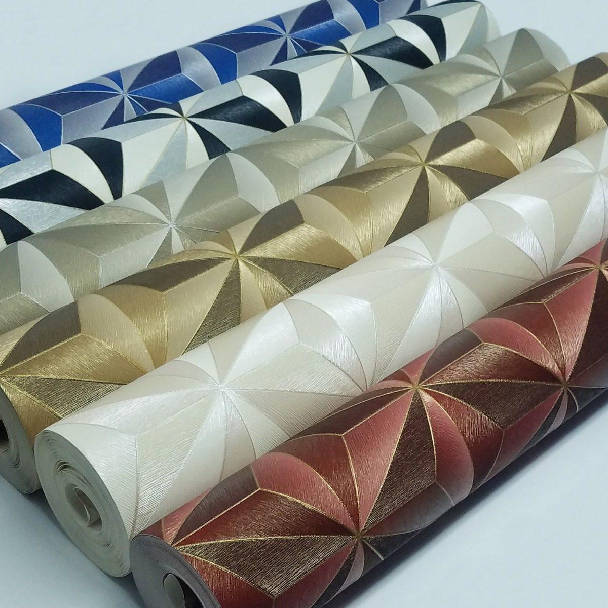 5f8ec7b95 papel de parede vinílico geométrico 3d dourado + cola. Carregando zoom.