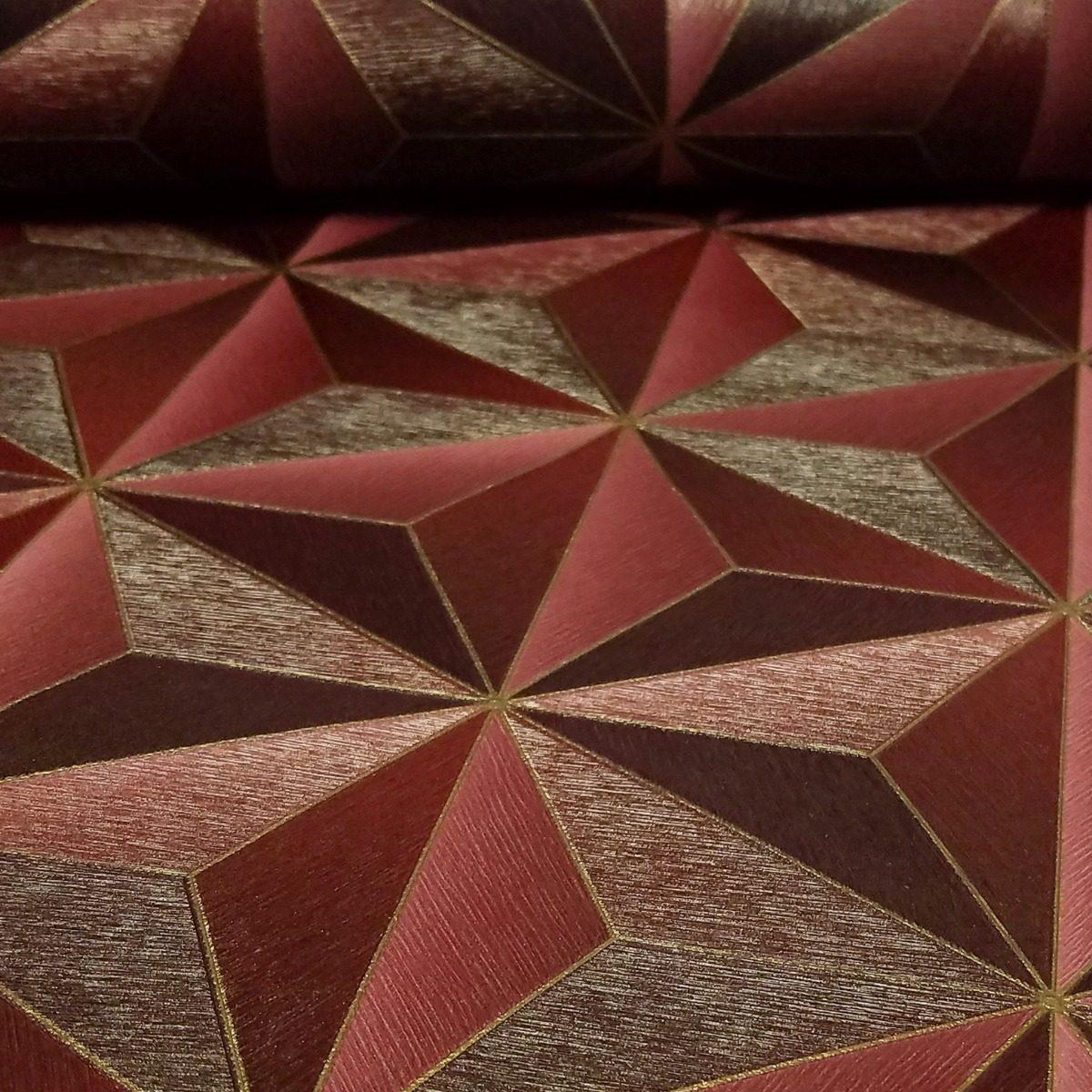 31508d6c2 Papel de parede vinílico geométrico vermelho com dourado carregando zoom  jpg 1200x1200 Parede vinílico papeis de
