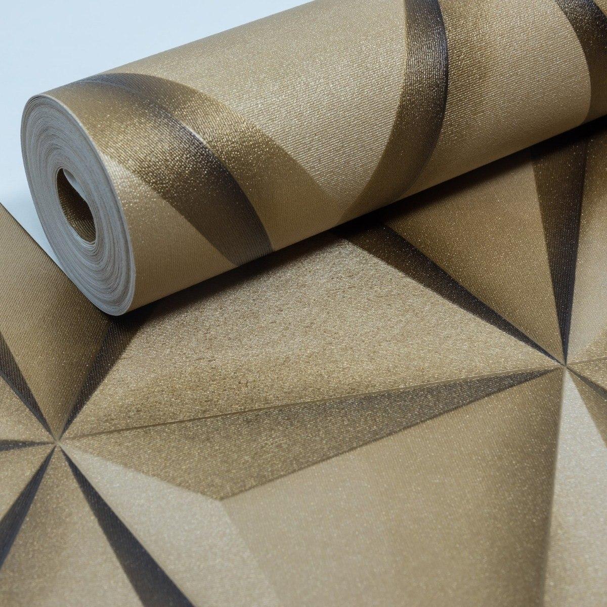48defc496 papel de parede vinílico lavável geométrico 3d dourado. Carregando zoom.
