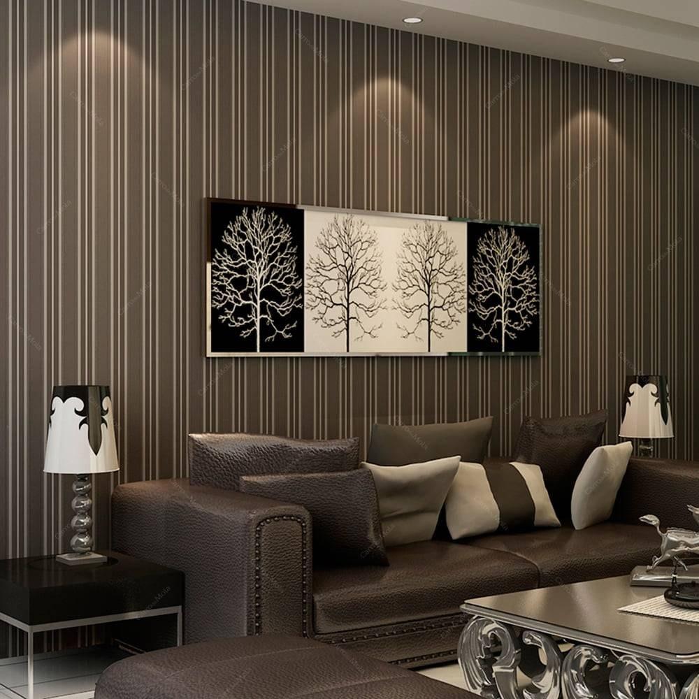Papel de parede vin lico marrom c textura de listras r 319 98 em mercado livre - Vinilico para paredes ...