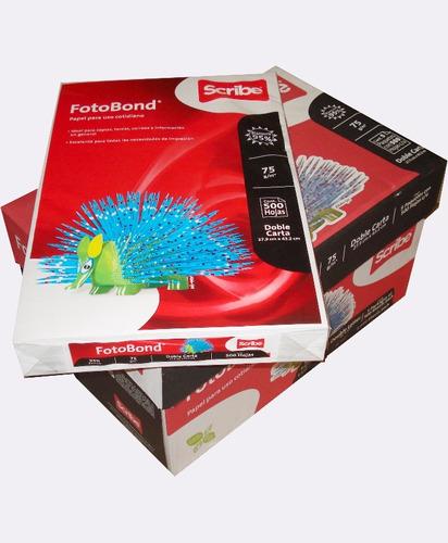 papel doble carta fotobond 90% 75g/m2 cja 5 paq c/ 500 hojas