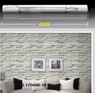 papel empapelar lavable  pvc 1 mt x 45 cm piedra gris