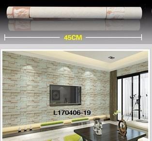 papel empapelar lavable  pvc 1 mt x 45cm piedra beige marron