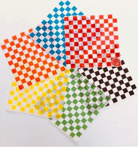 papel encerado cuadros rojos c/1000 pzas