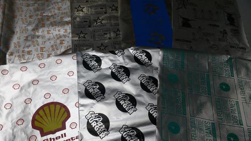 papel envoltorios para alfajores, bombones, hamburguesas.